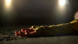 Headlights illuminating place of brutal murder, lifeless victim lying on road
