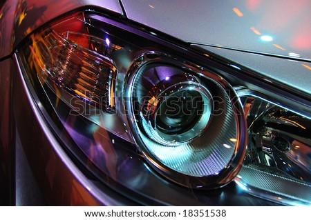 Headlights of a car.