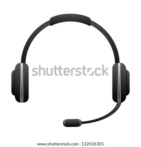 Headphone for support icon isolated on white background