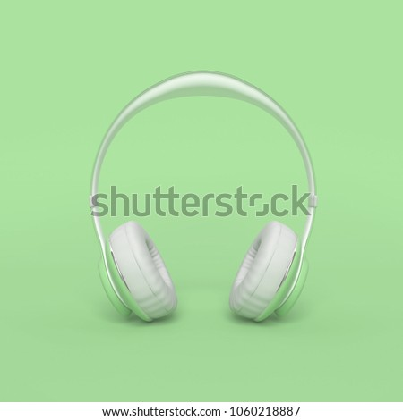 Headphone green color with clipping path and copy space for your text. minimal and pastel concept, 3d render.