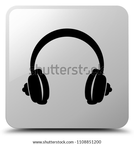 Headphone icon isolated on white square button abstract illustration