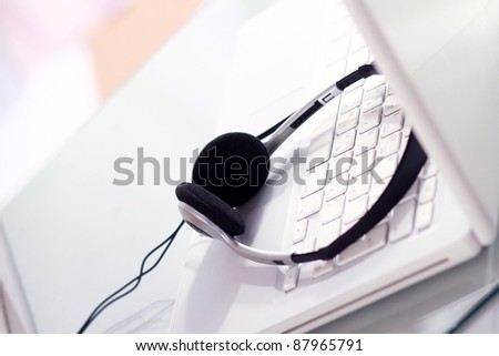 Headphones and a laptop