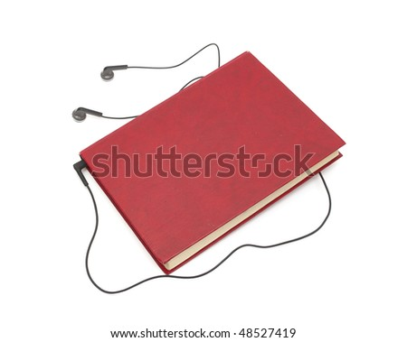 headphones and books (audio book concept)