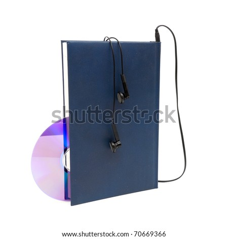 headphones and books (audio book concept) isolated