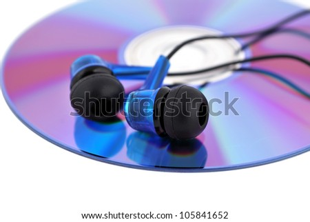 headphones and cd drive on a white background