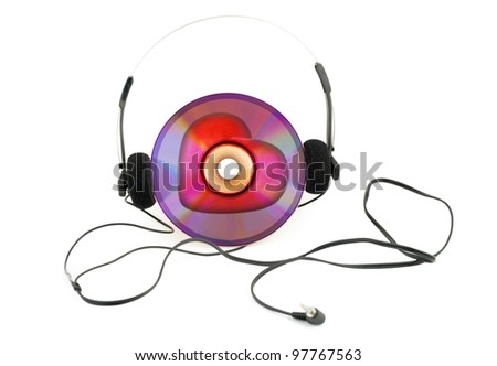 headphones and CD - music concept -  isolated on white background.