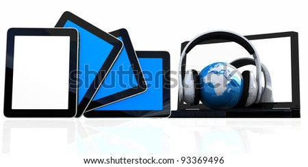 headphones and  earth on the  laptop and tablet pc