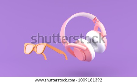 Headphones and glasses floating on the purple background 3d render