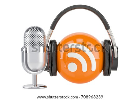 Headphones and mic with RSS logo podcast, 3D rendering