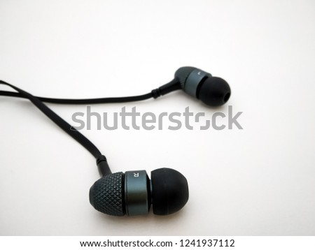 headphones earphone close up isolated with white background