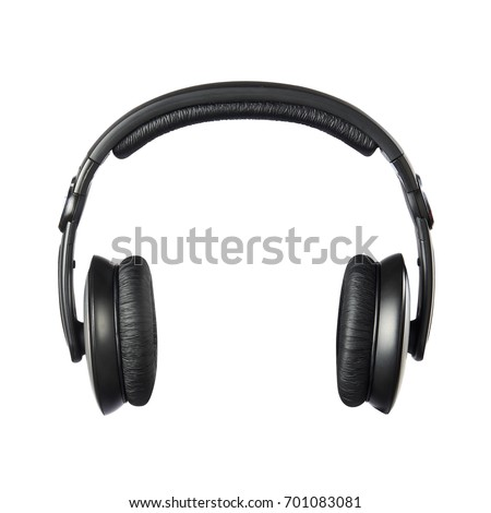 Headphones front view isolated on white background