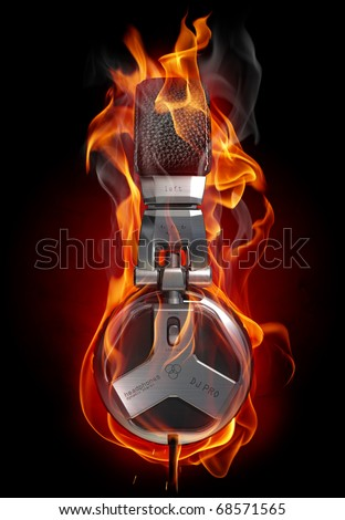 Headphones in fire. My own design made for the image.