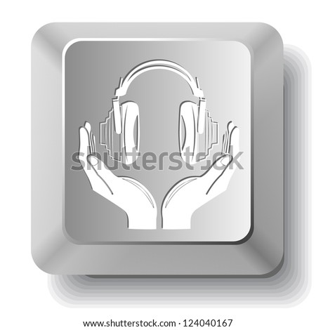 headphones in hands. Computer key. Raster illustration.