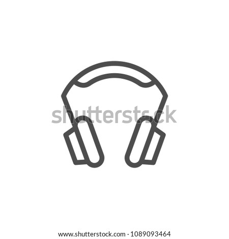 Headphones line icon isolated on white