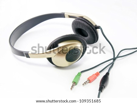 Headphones on a white background.