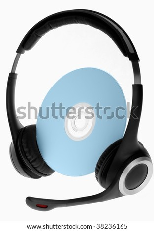 headphones on compact disc isolated on white