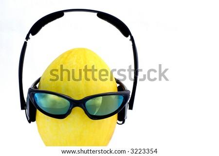 Headphones on melon head
