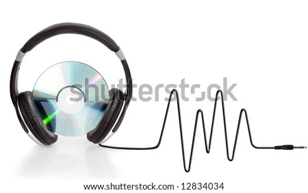 headphones over compact disc isolated on white