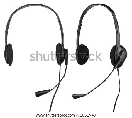Stock Photo Headphones with a microphone isolated on white background