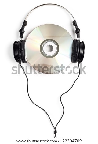 Headphones with blank CD on white background