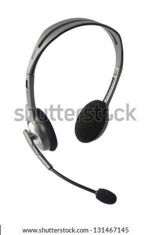 Stock Photo Headphones with Mic Isolated on White