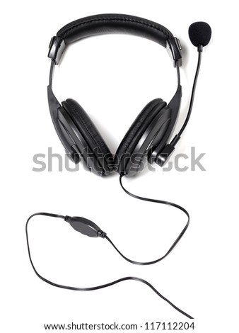 Headphones with microphone isolated on white background