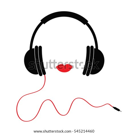 Headphones with red cord and lips Music card. Flat design icon White background Isolated