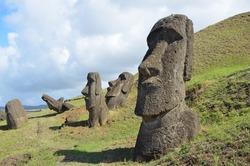 Heads of Moai statues, Rano Raraku, Easter Island, Chile