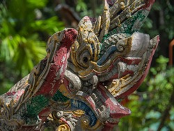 Heads of Naka or Naga or serpent in buddhist, Concept of Thai buddhism religion and culture.