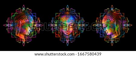 Heads of the Lord Buddha in full face and profile on a multicolor psychedelic background. Collage, digital art. Can be used for printing onto fabric and yoga mat.