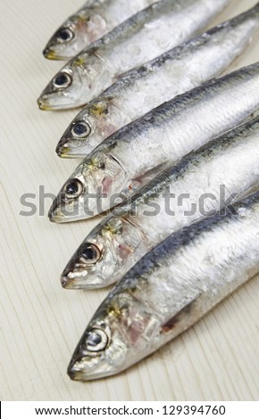 Heads raw sardines, detail of fresh raw fish, healthy food, no fat diet