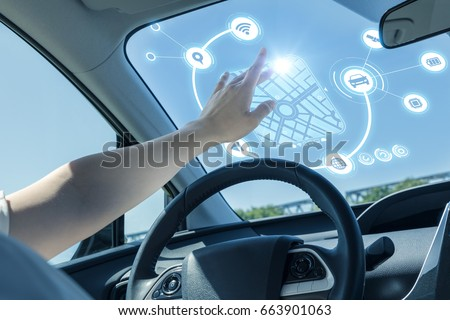 heads up display of vehicle. touch screen of car front glass. automotive technology. #663901063