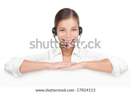 Headset customer service woman showing blank billboard sign isolated on white background. Mixed race young Chinese Asian  / Caucasian woman.