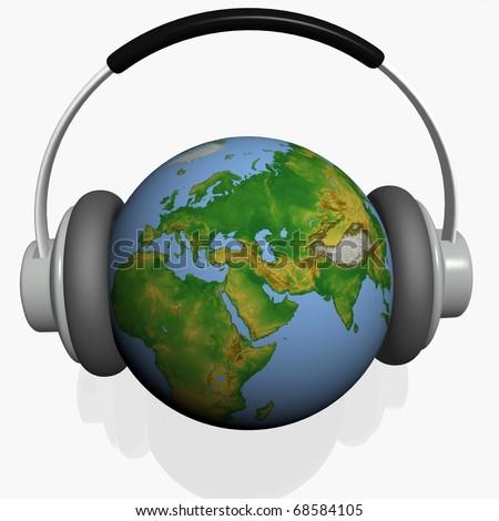 headset on world globe in isolated background
