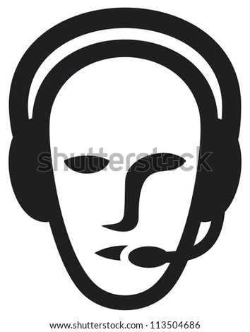 headset symbol (man headset, call center icon, face with headset, support phone operator in headset, man customer support) - stock photo