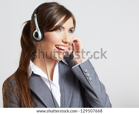 Headset woman customer service worker, call center,  smiling operator with headset . - stock photo