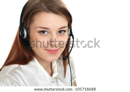 headset woman from call center smiling happy in hands free headset device. Business woman in shirtt isolated on white background.
