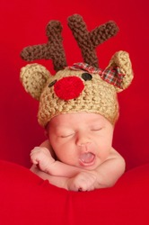 Headshot of a one week old newborn baby wearing a crocheted reindeer hat. Shot in the studio on a red blanket.