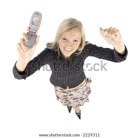 headshot of young blonde happy woman with moble phone (white background)