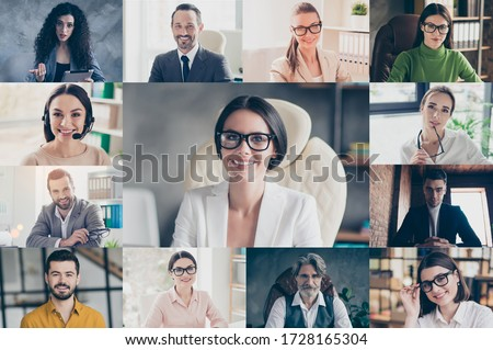 Headshot pc screen application view of smiling colleagues talk speak online brainstorm on group video chat call, collage of diverse people have work web conference on easy comfortable modern platform