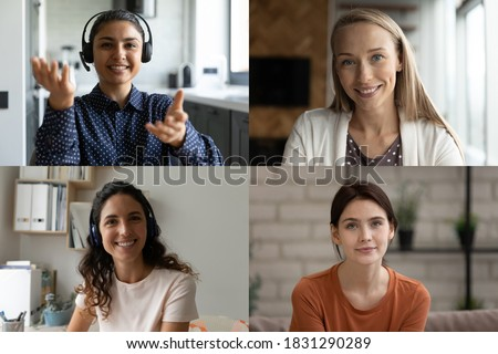 Headshot portrait collage of diverse smiling women have group video call. Happy multiracial girlfriends talk speak on webcam digital conference, female colleagues engaged in group web online meeting.