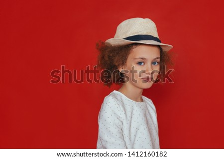 f92d21d34 Portrait of smile little girl in cute hat on white background Images ...