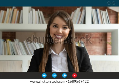 Headshot portrait screen application view of young businesswoman have online interview recruitment talk using wireless Internet connection, smiling female employee speak on video call with client
