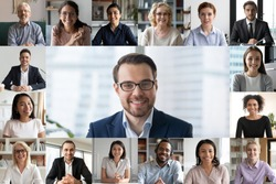 Headshot screen application view of diverse multiracial employees have work web conference using modern platform, smiling multiethnic colleagues talk speak online brainstorm on video call