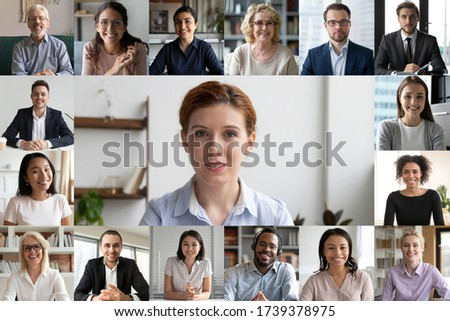 Headshot screen application view of multiracial businesspeople talk brainstorm on group video call, diverse colleagues have webcam conference, engaged in web team meeting or online briefing at home