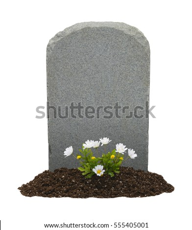 Headstone and Flowers with Copy Space Isolated on White Background. Stock photo ©