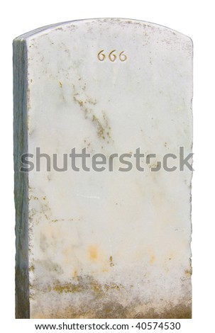 Headstone with evil 666 engraving with clipping path isolated on white background