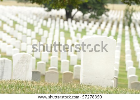 Headstones at the Arlington National Cemetery near Washington DC