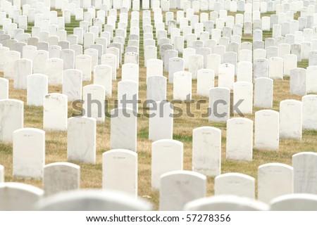 Headstones at the Arlington National Cemetery near Washington DC - stock photo