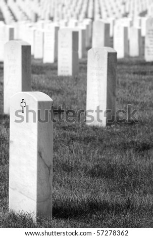 Headstones at the Arlington National Cemetery near Washington DC, black and white